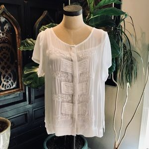 Anthropologie embroidered chiffon blouse